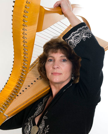 Elspeth with her Scottish Harp
